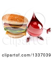 Clipart Of A 3d Hot Water Or Blood Drop Character Holding Up A Thumb Down And A Double Cheeseburger Royalty Free Illustration