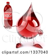 Clipart Of A 3d Hot Water Or Blood Drop Character Holding And Pointing To A Soda Bottle Royalty Free Illustration by Julos