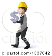 Clipart Of A 3d Young White Male Architect Holding A Dollar Symbol And Walking To The Left Royalty Free Illustration