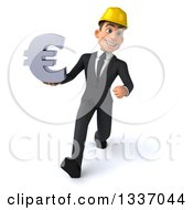 Clipart Of A 3d Young White Male Architect Holding A Euro Symbol And Speed Walking Royalty Free Illustration