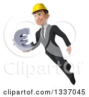 Clipart Of A 3d Young White Male Architect Holding A Euro Symbol And Flying Royalty Free Illustration