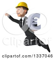 Clipart Of A 3d Young White Male Architect Holding A Euro Symbol And Flying Up To The Left Royalty Free Illustration