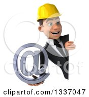Clipart Of A 3d Young White Male Architect Holding An Email Arobase At Symbol And Looking Around A Sign Royalty Free Illustration