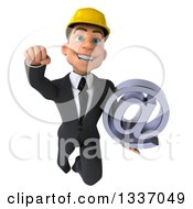 Clipart Of A 3d Young White Male Architect Holding An Email Arobase At Symbol And Flying 2 Royalty Free Illustration