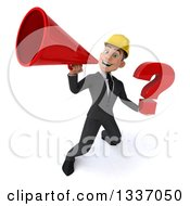 Clipart Of A 3d Young White Male Architect Holding A Question Mark And Announcing Upwards With A Megaphone Royalty Free Illustration