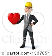 Clipart Of A 3d Young White Male Architect Holding A Red Love Heart Royalty Free Illustration