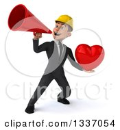 Clipart Of A 3d Young White Male Architect Holding A Red Love Heart And Announcing Up To The Left With A Bullhorn Royalty Free Illustration