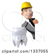 Clipart Of A 3d Young White Male Architect Holding A Tooth Around A Sign Royalty Free Illustration