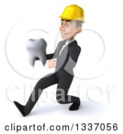 Clipart Of A 3d Young White Male Architect Holding A Tooth And Speed Walking To The Left Royalty Free Illustration