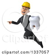 Clipart Of A 3d Young White Male Architect Holding A Tooth Pointing To The Left And Flying Royalty Free Illustration