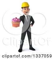 Clipart Of A 3d Young White Male Architect Holding A Pink Frosted Cupcake Royalty Free Illustration