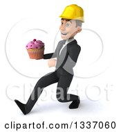 Clipart Of A 3d Young White Male Architect Speed Walking To The Left And Holding A Pink Frosted Cupcake Royalty Free Illustration