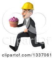 Clipart Of A 3d Young White Male Architect Sprinting To The Left And Holding A Pink Frosted Cupcake Royalty Free Illustration