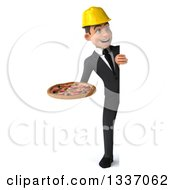 Clipart Of A 3d Full Length Young White Male Architect Holding A Pizza And Looking Around A Sign Royalty Free Illustration