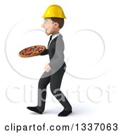 Clipart Of A 3d Young White Male Architect Holding A Pizza And Walking To The Left Royalty Free Illustration