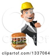 Clipart Of A 3d Young White Male Architect Holding A Double Cheeseburger Around A Sign Royalty Free Illustration