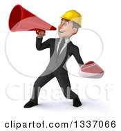 Clipart Of A 3d Young White Male Architect Holding A Beef Steak And Announcing To The Left With A Megaphone Royalty Free Illustration