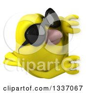 Clipart Of A 3d Yellow Bird Wearing Sunglasses And Looking Around A Sign Royalty Free Illustration by Julos