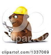 Clipart Of A 3d Happy Construction Beaver Holding A Wrench And Walking To The Left Royalty Free Illustration