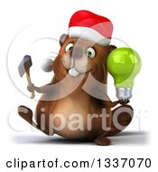 Clipart Of A 3d Christmas Beaver Walking And Holding An Axe And Green Light Bulb Royalty Free Illustration