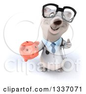 Clipart Of A 3d Happy Bespectacled Polar Bear Doctor Or Veterinarian Holding Up A Thumb And A Piggy Bank Royalty Free Illustration
