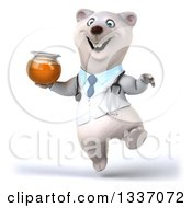 Clipart Of A 3d Happy Polar Bear Doctor Or Veterinarian Jumping With Honey Royalty Free Illustration by Julos