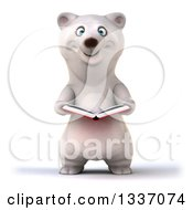 Clipart Of A 3d Happy Polar Bear Holding An Open Book Royalty Free Illustration