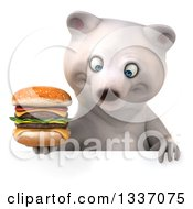 Clipart Of A 3d Polar Bear Holding A Double Cheeseburger And Looking Down Over A Sign Royalty Free Illustration