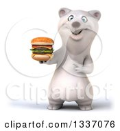 Clipart Of A 3d Happy Polar Bear Holding And Pointing To A Double Cheeseburger Royalty Free Illustration