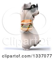 Clipart Of A 3d Happy Polar Bear Wearing Sunglasses Walking To The Right And Holding A Double Cheeseburger Royalty Free Illustration