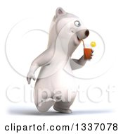 Clipart Of A 3d Happy Polar Bear Walking Slightly To The Right And Drinking A Beverage Royalty Free Illustration