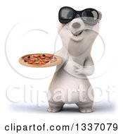 Clipart Of A 3d Happy Polar Bear Wearing Sunglasses Holding And Pointing To A Pizza Royalty Free Illustration