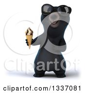 Clipart Of A 3d Happy Black Bear Wearing Sunglasses Holding And Pointing To A Waffle Ice Cream Cone Royalty Free Illustration