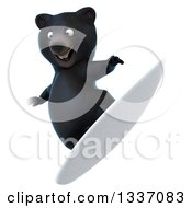 Clipart Of A 3d Black Bear Surfing 2 Royalty Free Illustration