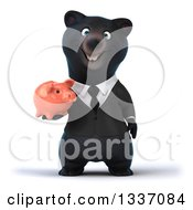 Clipart Of A 3d Black Business Bear Holding A Piggy Bank Royalty Free Illustration