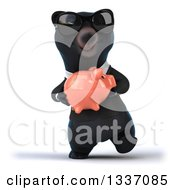 Clipart Of A 3d Black Business Bear Wearing Sunglasses Walking And Holding A Piggy Bank Royalty Free Illustration