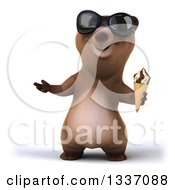 Clipart Of A 3d Happy Brown Bear Wearing Sunglasses Presenting And Holding A Waffle Ice Cream Cone Royalty Free Illustration