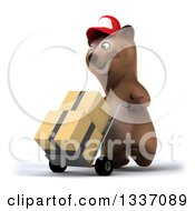 Clipart Of A 3d Happy Brown Bear Wearing A Baseball Cap And Moving Boxes On A Dolly Facing Slightly Left Royalty Free Illustration