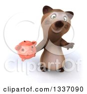 Clipart Of A 3d Brown Bear Holding Up A Thumb Down And A Piggy Bank Royalty Free Illustration