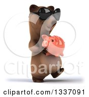 Clipart Of A 3d Happy Brown Bear Wearing Sunglasses Walking Slightly Right And Holding A Piggy Bank Royalty Free Illustration