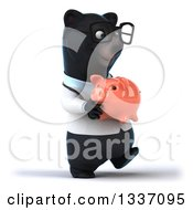Clipart Of A 3d Bespectacled Black Bear Veterinarian Or Doctor Walking Slightly To The Right And Holding A Piggy Bank Royalty Free Illustration
