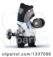 Clipart Of A 3d Happy Black Bear Veterinarian Or Doctor Working Out Facing Slightly Right Doing Lateral Raises With Dumbbells Royalty Free Illustration by Julos