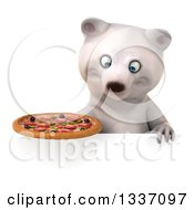Clipart Of A 3d Polar Bear Holding A Pizza And Looking Down Over A Sign Royalty Free Illustration