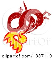 Clipart Of A Textured Red Fire Breathing Chinese Dragon Royalty Free Vector Illustration by lineartestpilot