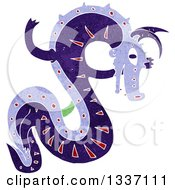 Clipart Of A Textured Purple Chinese Dragon Royalty Free Vector Illustration by lineartestpilot