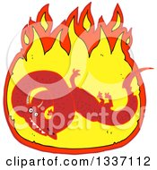 Clipart Of A Textured Red Chinese Dragon In A Fire Royalty Free Vector Illustration by lineartestpilot