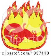 Clipart Of A Textured Red Chinese Dragon In A Fire 2 Royalty Free Vector Illustration by lineartestpilot