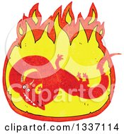 Clipart Of A Textured Red Chinese Dragon In A Fire 3 Royalty Free Vector Illustration by lineartestpilot