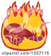 Clipart Of A Textured Red Chinese Dragon In A Fire 4 Royalty Free Vector Illustration by lineartestpilot