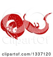 Clipart Of A Textured Red Chinese Dragon 2 Royalty Free Vector Illustration by lineartestpilot